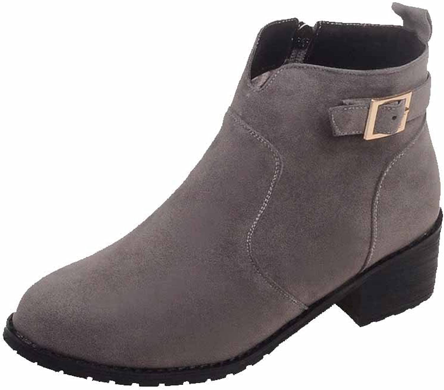 AllhqFashion Women's Kitten-Heels Frosted Ankle-high Solid Zipper Boots