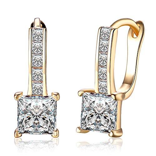Elegant 18K Gold Plated Cubic Zirconia Hoop Earrings Earring For Girls Womens Nice Gift (Zircon)
