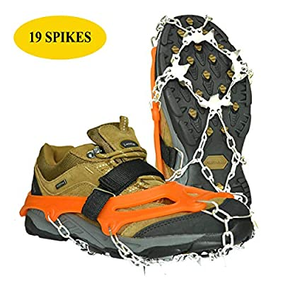 Lamsion Ice Cleats Crampons Traction Snow Grips for Shoes Boots Women Men Anti Slip 19 Snow Spikes for Walking Climbing Jogging Hiking Mountaineering (Orange, X-Large)