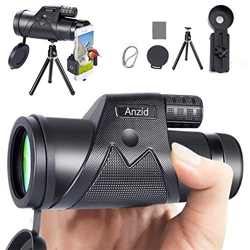 Monocular Telescope for Android iPhone,12X42 High Power Monocular for Adult Kids with Smartphone Holder & Tripod, IPX7 Waterproof BAK4 Prism Dual Focus Monoculars for Bird Watching Camping Travelling