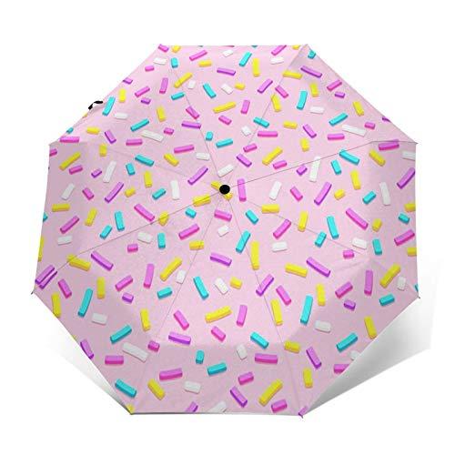 Regenschirm Taschenschirm Kompakter Falt-Regenschirm, Winddichter, Auf-Zu-Automatik, Verstärktes Dach, Ergonomischer Griff, Schirm-Tasche, Lila Bonbon Donut