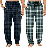Fruit of the Loom Men's Woven Sleep Pajama Pant, Navy Plaid/Green Plaid, Large