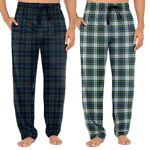 Fruit of the Loom Men's Woven Sleep Pajama Pant, Navy Plaid/Green Plaid, Large