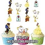 AK Giftshop - Set di decorazioni commestibili per cupcake/torte, pretagliate, motivo 'La Bella e la Bestia', 36 pz