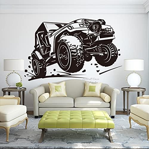 QILAIYD Pegatina de pared para coche de carreras de vehículos todoterreno para bebé, guardería, Ford chevrolrt ecosport RC Car Wall Decal Decoración para el hogar, 56 cm x 35 cm