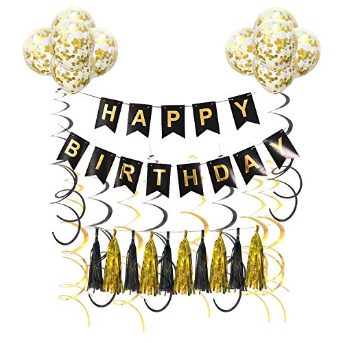 Birthday Party Decorations Black & Gold Kit Includes Happy Birthday Banner Tassel Garlands Balloons and Hanging Swirl Streamers