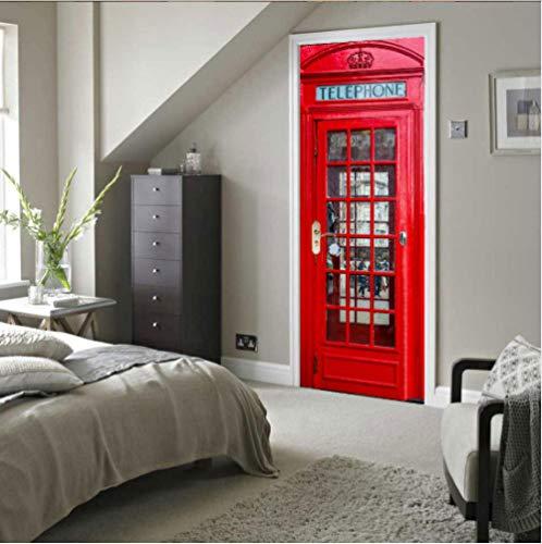 CLRJ Door Sticker 3D Telefonzelle Türtapete Wasserdicht PVC Selbstklebend Abnehmbare Türposter Für AusgangsdekorTüraufkleber Kunst 77 x 200 cm