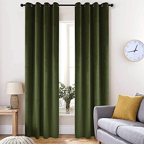 BDRS HOME Velvet Curtains for Living Room&Bedroom,Grommet Top Darkening Curtain Panels,Pack of 2,52WX84L Inches,Moss
