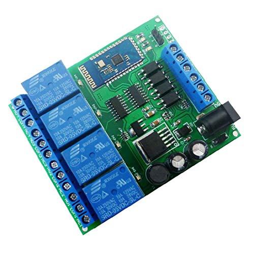 NaiCasy Módulo de relé de 4 Canales Bluetooth DC 5V 9V 24V 12 Smart Wireless Auto-Bloqueo momentáneo de Bloqueo Remoto Interruptor de Control de Azul