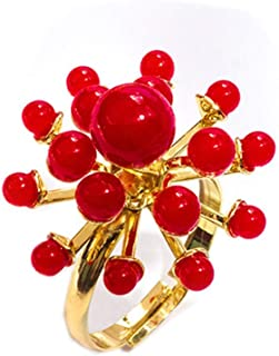 MLJB 18K مطلية بالذهب غير منتظم كرات اللؤلؤ الحمراء زهرة النساء الفتيات خواتم الفرقة قابل للتعديل