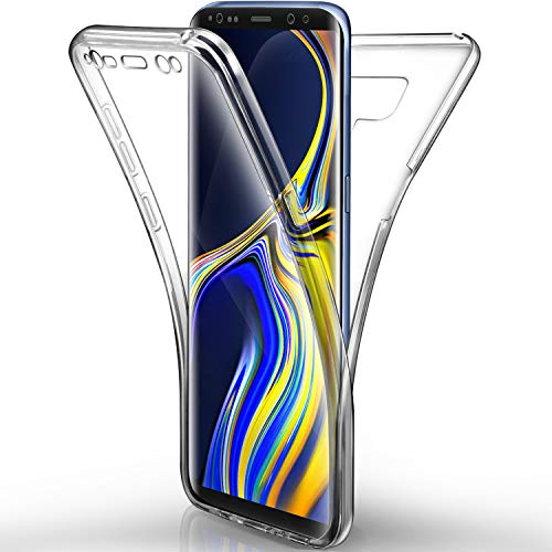 Aroyi Coque Samsung Galaxy Note 9 Etui, Transparent Silicone Gel Case Intégral 360 Degres Full Body Protection Anti-Rayures Coque Housse pour Samsung Galaxy Note 9