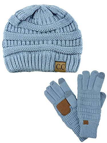 C.C Unisex Soft Stretch Cable Knit Beanie and Anti-Slip Touchscreen Gloves 2 Pc Set, Denim