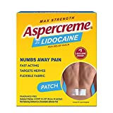 Aspercreme Max Strength Lidocaine Pain Relief Patch (5 Count) for Back Pain, Odor Free Pain Patches