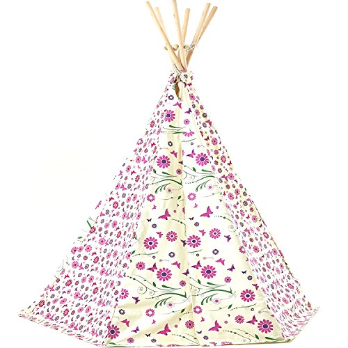 Garden Games Limited Girl's Flower Butterfly Teepee Wigwam Play Tent Tipi with Thick Fabric and Wooden Frame for Children Indoor Outdoor Pink