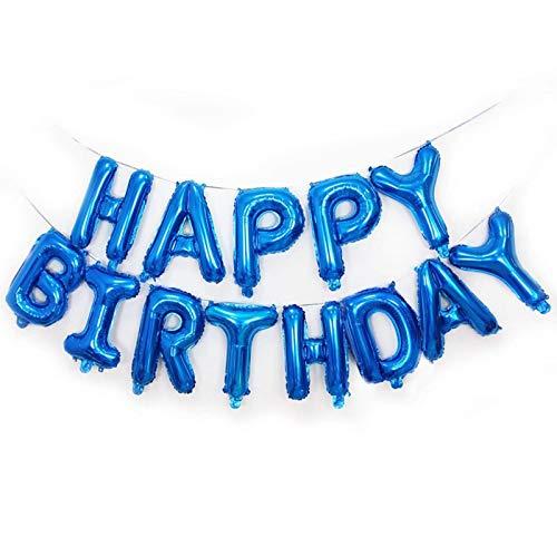 Warmiehomy Geburtstag Luftballons, Girlande Geburtstag Helium Ballons für Junge Kinder, Happy Birthday Folien Balloons 16 Zoll Alphabet Folien Banner Ballon für Partydekoration,Blau