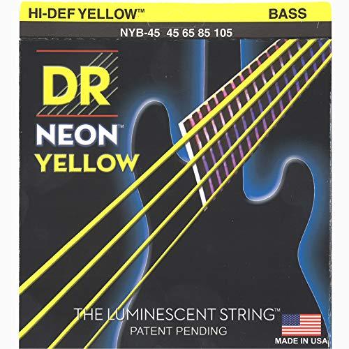 DR - Cuerdas de ne?n para bajo el?ctrico (dureza media), color amarillo