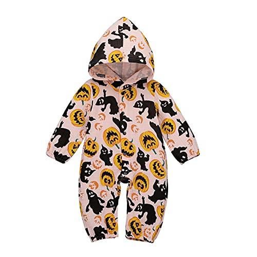 Mameluco para recién nacido de Halloween, para bebé, niña, calabaza, con capucha, disfraz de Halloween (0-24 meses), rosa, 0 -3 Meses
