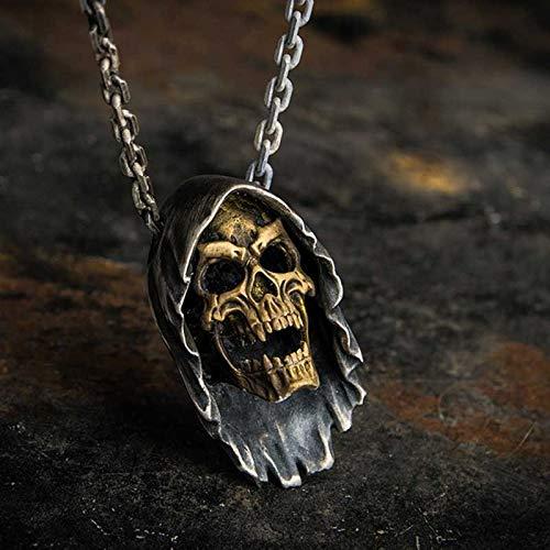ABRC Encantos Steampunk pendentif Moda del Motorista del Punk Rock Antiguo de la joyería Retro Cadena de Oro cráneo Colgante, Collar de los Hombres del Regalo OSDZ035
