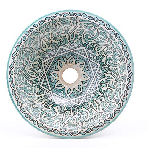Orientalische Keramik-Waschbecken Fes74 grün Ø 35 cm rund | Marokkanische Aufsatzwaschbecken handbemalt Handwaschbecken für Küche Badezimmer Gäste-Bad | Kunsthandwerk aus Marokko | WB35274