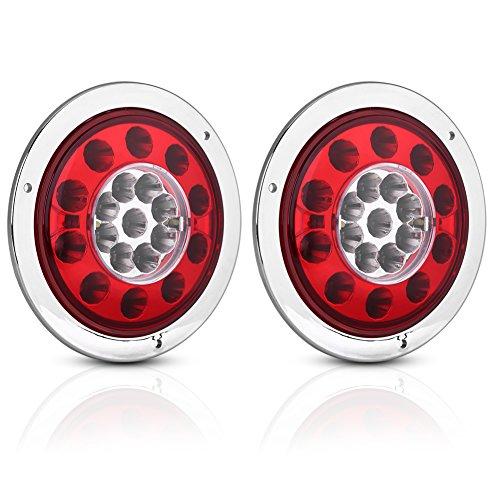 Qiilu LED Feu de Freinage Feu, Une paire de 4,3 pouces rondes 19 LED camion remorque arrêt de frein tourner feu arrière anneau chromé double couleur