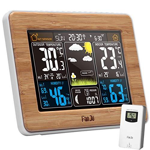 VORRINC Weather Station Wetterstation mit Außensensor, Digital Wecker LCD-Display Barometer Temperatur-Feuchtigkeits-Monitor Wettervorhersage für Zuhause Büro Hausgarten