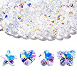 128 Pieces Crystal Beads for Craft Loose Charms for Jewelry Making Mixed Shapes Glass AB Crystal Pendant in Plum Blossom, Starfish, Butterfly, Heart, Round Shape for Necklace Earrings Wedding