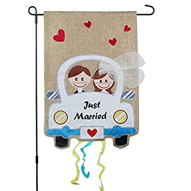 Just Married Banner, Garden Flag or Car Decoration - Bride and Groom Design On Burlap Banner - 12x18 - Home Garden Flag