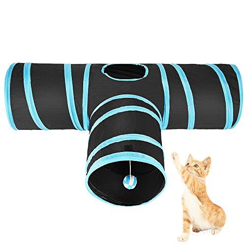 Asiv 3-Wege faltbare Spiel-Tunnel mit Shaky Kugel für Katze, Welpe, Kätzchen Und Kaninchen Welpen-Tunnel
