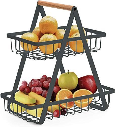 Obstschale mit 2 Etagen, Obstkorb, Gemüseregal, Brotständer für Küche, dunkelgrau
