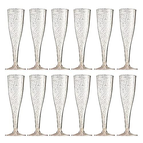 LUDAXUE 1 2PCS Champagne Flautes Champagne Flautes Set, Copa de Vino Champagne, Flautas Vidrio Rosa Dorado Desechable Tallo de plástico Transparente, Copas de Vino Suministros de Boda