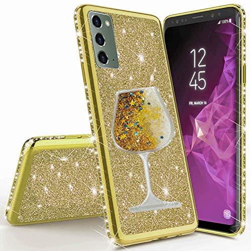 Miagon für Samsung Galaxy Note 20 Hülle Glitzer,Lustig Flüssig Sand Wein Tasse Muster Glänzend Weich Silikon Strass Diamant Überzug Handyhülle Schutzhülle Etui Cover