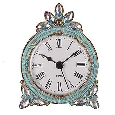 NIKKY HOME Vintage Pewter Quartz Table Clock Crystal Shining Rhinestone, 2.87 x 1.37 x 3.87 inches, Aqua