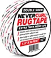 """NeverCurl Double Sided Extra Thick Rug Tape with Mesh Fabric - 1.5"""" by 30 Feet Roll - Anti Slip Non Skid Gripper Tape for Rugs, Mats, Pads, Runners - Indoors Work Any Floor - Hardwood Tiles Laminates"""