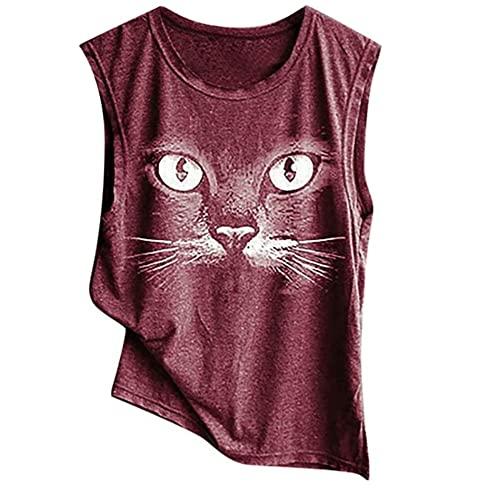 Camiseta Mujer Verano Sin Mangas Cuello Redondo Estampado Gato Tops Mujer Cómoda Elegante Moda Exquisita Tops...