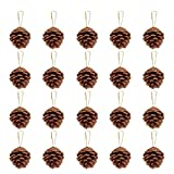 Unomor 36pcs Christmas Pine Cone Ornaments with String Natural Wood Rustic Christmas Tree Decoration...