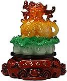 QULONG Adornos de Feng Shui Col Pi Yao/Pi Xiu Símbolo de Riqueza Estatua Riqueza Porsperidad Estatua Mascota Hogar Feng Shui Decoración Figura de la Suerte Regalo del Festival