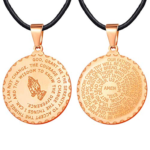 U7 Women Girls Bible Verse Necklace Rose Gold Plated Religious Christian Jewelry, 2mm Black Leather Chain & Praying Hands Coin Medal Pendant 22 Inch
