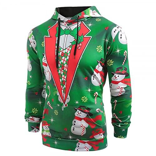 Hombres Otoño Slim Casual Navidad Impreso Con Capucha Manga Larga Suéteres Top Blusa Verde, verde, M