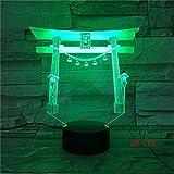 lampara 3D Pared Lámpara de Mesa de la lámpara Multicolor del Santuario japonés 7 Cambios de Color Interruptor táctil y Remoto Navidad