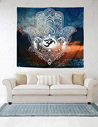 Lartum Tapestry Wall Hanging, Mandala Böhmischen Psychedelischen Spirituellen Hippie Die Hand Der Fatima Sind Grau Und Orange Bedruckten Geweben Für Hintergrund Dekorative Wand Tuch Gobelin Wohnzim