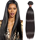 ANGIE QUEEN Peruvian Virgin Hair Straight 28 inch One Bundle 100% Unprocessed Virgin Human Hair Extension Hair Weave Weft Natural Black Color 100G (One Bundle)