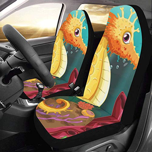 InterestPrint Universal Two Seahorses Under The sea Two Front Car Seat Covers Set -100% Breathable