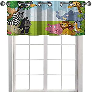 Room Darkening Window Valance, Kids Design Children Nursery Room Safari Themed Cartoon Animals Image Artwork Print, 50″ W x 18″ L Window Treatment for for Kitchen Living Dining Room, Multicolor