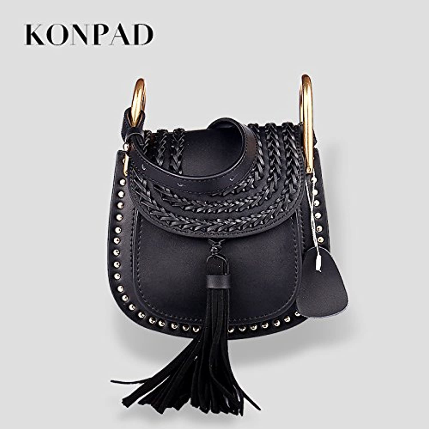 Konpad Women's Tassel Genuie Cowhide Leather Backpack Fashion Trend Schoolbag Shoulder Bag College Teenage Girls