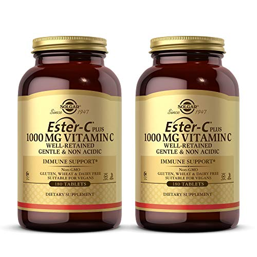 Solgar Ester-C Plus 1000 mg Vitamin C (Ascorbate Complex), 180 Tablets - 2 Pack - Gentle & Non Acidic - Antioxidant & Immune System Support - Non GMO, Vegan, Gluten Free, Kosher - 360 Servings