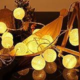 Cotton Ball Lichterkette - 3,5M 20 LED Kugel Lichterketten mit Stecker für Innen Nachtlicht Deko wie Weihnachten, Hochzeit, Party, Zimmer, Vorhang
