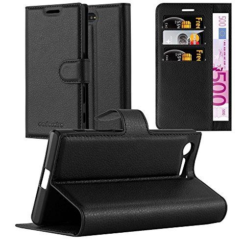 Cadorabo Hülle für Sony Xperia X Compact in Phantom SCHWARZ - Handyhülle mit Magnetverschluss, Standfunktion & Kartenfach - Hülle Cover Schutzhülle Etui Tasche Book Klapp Style