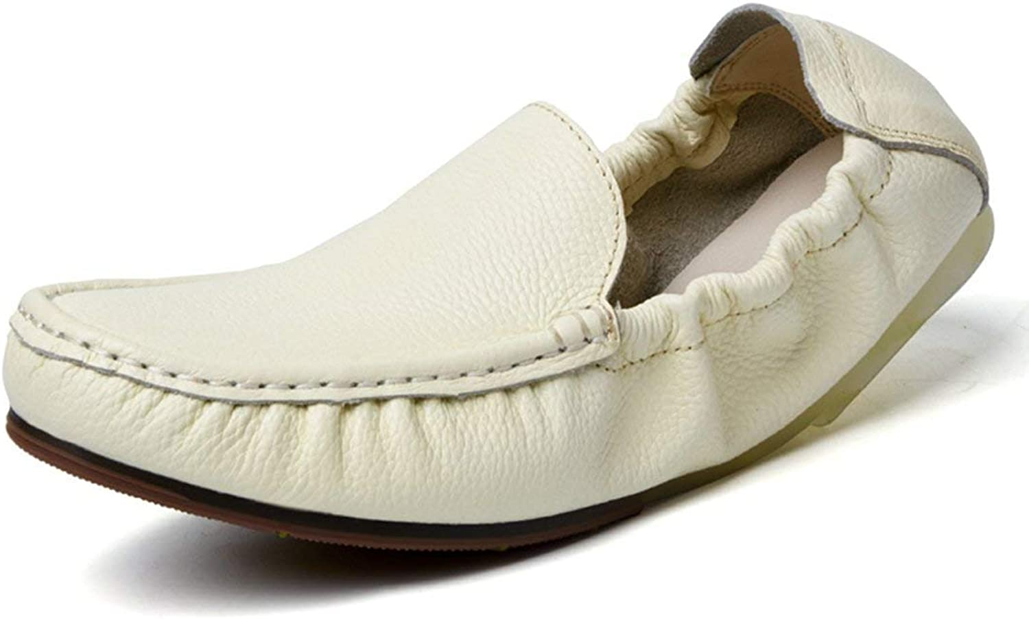 ZHRUI Boy's Men's Soft Slip On Comfortable Moccasins Casual Loafers (color   Fur Lined White, Size   6.5 UK)