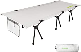 FUNDANGO Folding Camping Cots for Adult,Ultralight Single Sleeping Bed,Aluminum Frame with Double Layer Oxford Fabric Backpacking Cots 74.8x25.6x14.96 Inches Support 265 lbs Carry Bag Included (White)