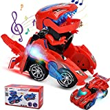 Villana Transforming Dinosaur Toys, Transforming Dinosaur Car with LED Light and Music Automatic Transform Dino Car for 2+ Year Old Kids Christmas Birthday Gifts (Red)